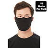 Contoured Fabric Face Mask, Black, 7oz, 10/PK