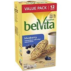 belVita Breakfast Biscuits, Blueberry, 12/BX, 3 BX/PK