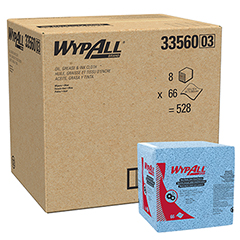 Oil, Grease & Ink Cloths (33560), Disposable, Low Lint, Blue, Quarterfold Wipes, 66 Sheets/PK, 8 ...