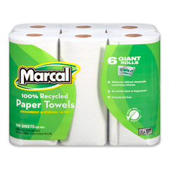 100% Recycled Giant Roll Paper Towel, White, 2-Ply, 140 Sheets/RL, 6 Rolls/PK