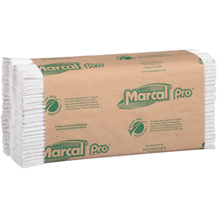 """100% Recycled Center-Fold Paper Towel, White, 1-Ply, 10 1/4"""" x 12 4/5"""", 150/PK, 16 Packs/CT"""