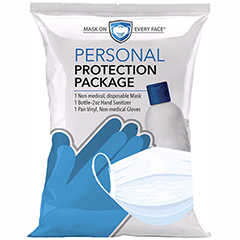 Personal Protection Package, 3-Ply Mask / 2 oz. Hand Sanitizer / Gloves