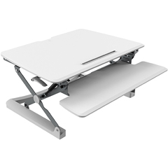 Height Adjustable Sit-to-Stand Desktop Riser with Keyboard Tray, White