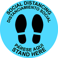 "Vinyl Floor Adhesive Signage, ""Stand Here/Parese Aqui"", English/Spanish, 12"" x 12"""