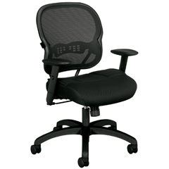 """The Agent"" Mid-Back Swivel/Tilt Work Chair, Black Mesh"