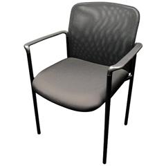 """Sidekick"" Mesh Guest Side Chair, Black Fabric, Black Base"