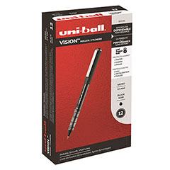 Vision Roller Ball Stick Waterproof Pen, Black Ink, Micro, Dozen
