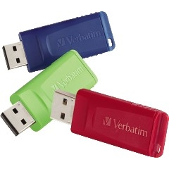 Store 'n' Go USB 2.0 Flash Drive, 4GB, Blue/Green/Red, 3/Pack