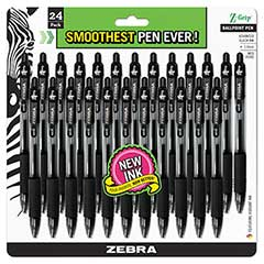 Z-Grip Retractable Ballpoint Pen, Black Ink, Medium, 24/Pack