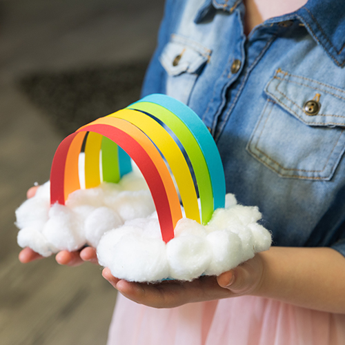 Rainbow on Cotton Ball Clouds