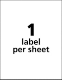1 Label per sheet