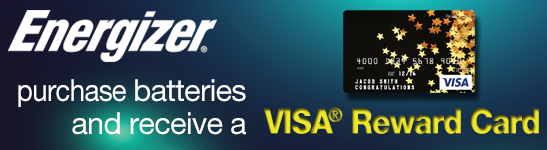 Receive Visa Reward Card with Eligible Energizer Batteries Purchase