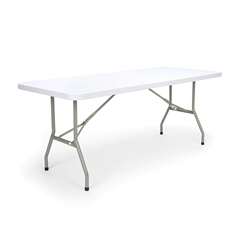 "Essentials Blow Molded Folding Utility Table, 30"" x 72"", White"
