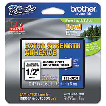 TZe Extra-Strength Adhesive Laminated Labeling Tape, 1/2w, Black on White