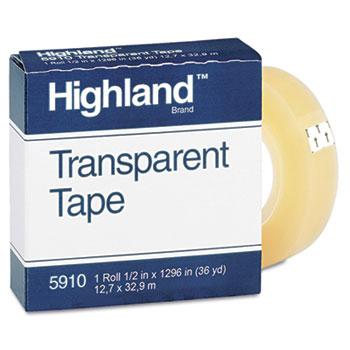 "Transparent Tape, 1/2"" x 1296"", 1"" Core, Clear"