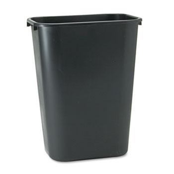 Deskside Plastic Wastebasket, Rectangular, 10.25gal, Black