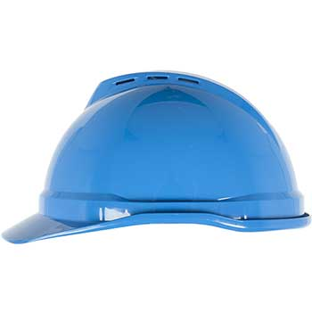 MSA Vented Hard Hat, 4-Point Fas-Trac III Suspension, Blue