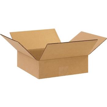"""Flat Corrugated boxes, 10"""" x 10"""" x 3"""", Kraft, 25/BD"""