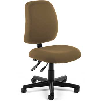 OFM™ Posture Series Model 118-2 Armless Swivel Task Chair, Fabric, Mid-Back, Taupe