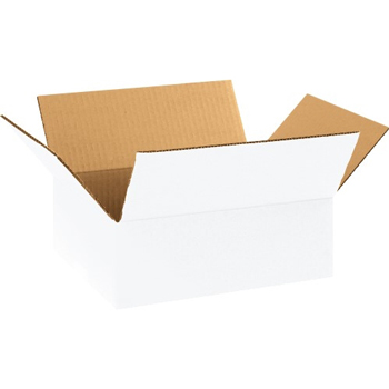 "Corrugated boxes, 11 1/4"" x 8 3/4"" x 4"", White, 25/BD"