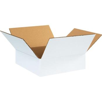 """W.B. Mason Co. Corrugated boxes, 12"""" x 12"""" x 4"""", White, 25/BD"""