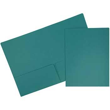 Premium Matte Cardstock Twin Pocket Folders, Teal Blue, 100/BX