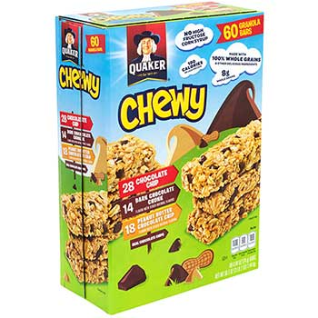 Chewy Granola Bar Variety Pack, Chocolate Chip & Peanut Butter Chocolate Chip, 60/BX