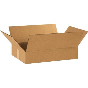 """Flat Corrugated boxes, 18"""" x 12"""" x 3"""", Kraft, 25/BD"""