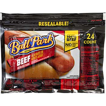 Ball Park® Beef Franks Hot Dogs, 45 oz., 24/PK