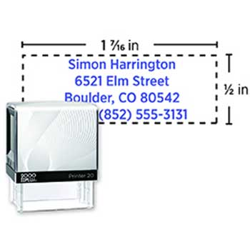 "Custom Self-Inking Message Stamp, P20, 1/2"" x 1 3/8"""