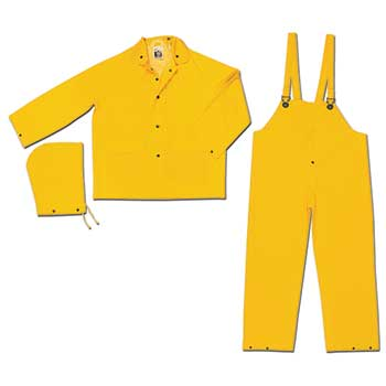 MCR™ Safety River City Classic 3 Piece Suit, Detachable Hood, Snap Front Jacket, Bib Pant, .35 mm PVC/Polyester, Yellow, XX-Large