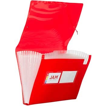 "JAM Paper® Accordion Folder, 13"" Pocket Plastic Expanding File, 9"" x 13"", Red"