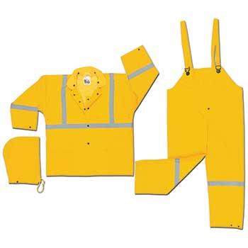 MCR™ Safety River City Luminator™ Rainwear, 3 Piece Suit, .35 mm PVC/Polyester, Silver Reflective on Jacket/Pants, Yellow, XX-Large