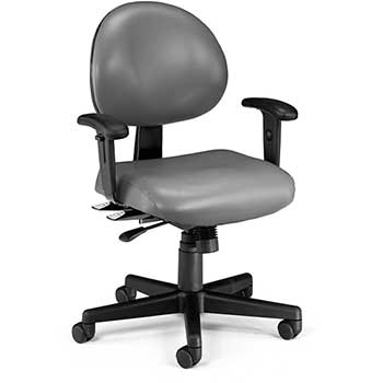 OFM™ Model 241-VAM-AA 24 Hour Ergonomic Task Chair with Arms, Anti-Microbial/Anti-Bacterial Vinyl, Mid-Back, Charcoal