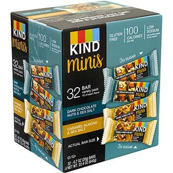 KIND Minis Dark Chocolate Nuts & Sea Salt and Caramel Almond & Sea Salt, 0.7 oz., 32/CS