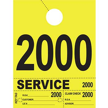 Dispatch Number Service Tags, 4 Part Heavy Bright, Yellow, 2000-2999, 1000/PK