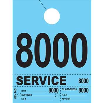 W.B. Mason Auto Supplies Dispatch Number Service Tags, 4 Part Heavy Bright, Blue, 8000-8999, 1000/PK