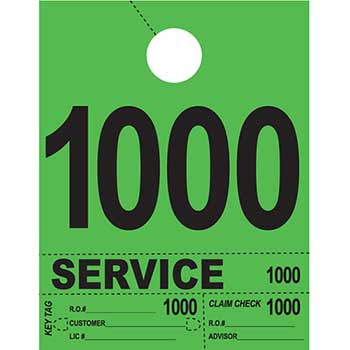 Dispatch Number Service Tags, 4 Part Heavy Bright, Green, 1000-1999, 1000/PK