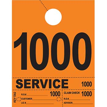W.B. Mason Auto Supplies Dispatch Number Service Tags, 4 Part Heavy Bright, Orange, 1000-1999, 1000/PK