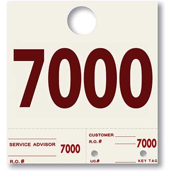 W.B. Mason Auto Supplies Dispatch Number Service Tags, Heavy Stock, Side Padded, 7000-7999, 1000/PK