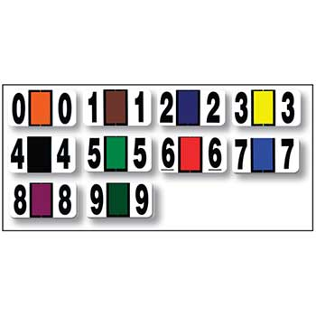W.B. Mason Auto Supplies Color Code Ringbook Numbers, 0-9, 10/PK