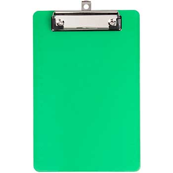 "Plastic Clipboards with Low Profile Metal Clip, 6"" x 9"", Green, 12/BX"