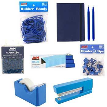 JAM Paper® Complete Desk Kit, Blue, 8/PK