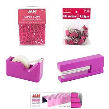 JAM Paper® Office Starter Kit, Pink, 5/PK