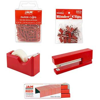 JAM Paper® Office Starter Kit, Red, 5/PK
