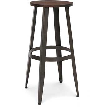 """OFM™ Edge Series Wood Stool, Backless Stool with Steel Foot Ring, 30"""", Walnut"""