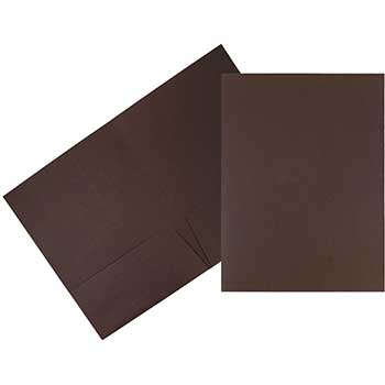 JAM Paper® Premium Paper Cardstock Two-Pocket Presentation Folder, Chocolate Brown Linen