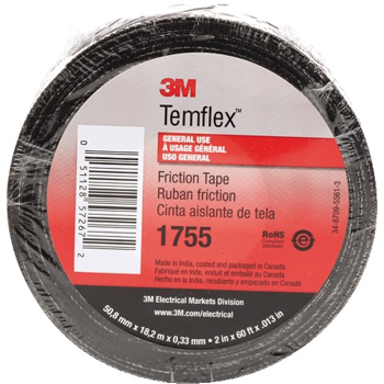 "3M™ 1755 Cotton Friction Tape, 13 Mil, 3/4"" x 60', Black, 1/CS"