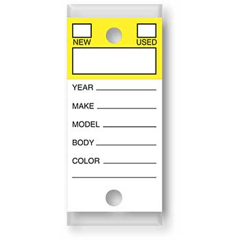 W.B. Mason Auto Supplies Color-Top Versa-Tag, Yellow, Form #202, With Rings, 250/BX