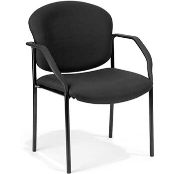 Manor Series Deluxe Upholstered Stacking Guest Chair, Black